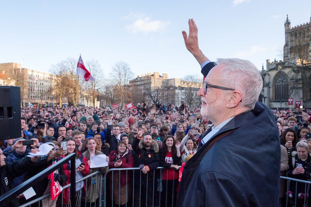 © Licensed to London News Pictures. 09/12/2019. Bristol, UK. General Election 2019; JEREMY CORBYN, leader of the Labour Party, attends a Labour election rally on College Green in front of Bristol City Hall in the parliamentary seat of Bristol West. The Bristol West MP before the election was called was Labour's Thangam Debbonaire. The Lib Dems have stood down in Bristol West in a remain alliance with the Green party who are targeting Bristol West to get another Green MP in parliament. Photo credit: Simon Chapman/LNP.