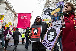 London, UK. 12th January, 2019. Supporters of Brazilian Women Against Fascism and Ele Não Students London demonstrate outside the Brazilian embassy in solidarity with women, students, environmental campaigners, black communities, LGBTQIA+ communities, indigenous peoples, peasants and workers protesting in Brazil following the inauguration of President Jair Bolsonaro.