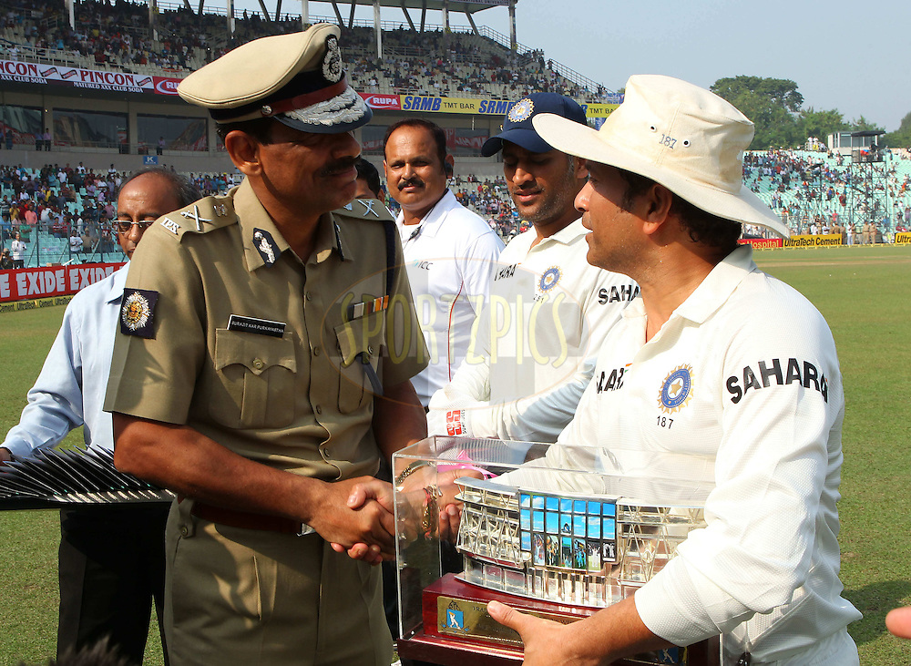 Sachin Tendulkar is facilitated prior to the start  during day one of the first test match between India and The West Indies held at The Eden Gardens Stadium in Kolkata, India on the 6th November 2013<br /> <br /> Photo by: Ron Gaunt - BCCI - SPORTZPICS
