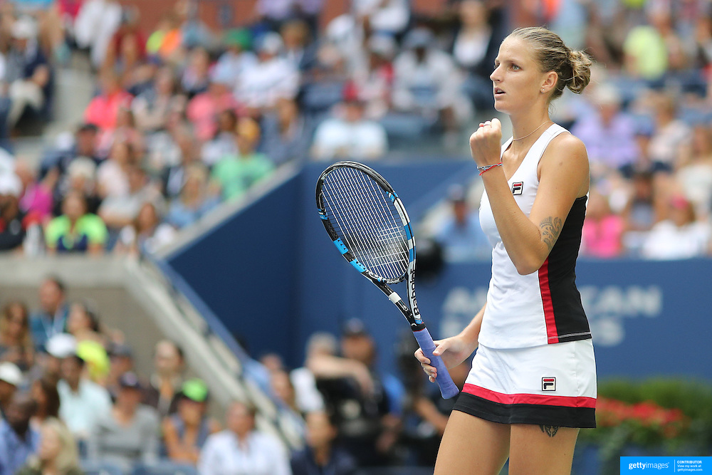 2016 U.S. Open - Day 8  Karolina Pliskova of the Czech Republic in action against Venus Williams of the United States in the Women's Singles round four match on Arthur Ashe Stadium on day eight of the 2016 US Open Tennis Tournament at the USTA Billie Jean King National Tennis Center on September 5, 2016 in Flushing, Queens, New York City.  (Photo by Tim Clayton/Corbis via Getty Images)