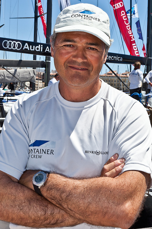 FRANCE, Marseille. 19th June 2011. AUDI MedCup Marseille Trophy. Yann Gouniot, trimmer on board TP52, CONTAINER.