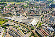 Nederland, Noord-Holland, Haarlem, 01-08-2016;centrum Haarlem, met Spaarne, Koepelgevangenis, Amsterdamse Poort en Hoofdwerkplaats Haarlem van NedTrain.<br /> City centre Haarlem.<br /> luchtfoto (toeslag op standard tarieven);<br /> aerial photo (additional fee required);<br /> copyright foto/photo Siebe Swart
