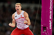 Great Britain, London - 2017 August 08: Piotr Lisek (OSOT Szczecin) of Poland reacts after good attempt in men's pole vault final during IAAF World Championships London 2017 Day 5 at London Stadium on August 08, 2017 in London, Great Britain.<br /> <br /> Mandatory credit:<br /> Photo by © Adam Nurkiewicz<br /> <br /> Adam Nurkiewicz declares that he has no rights to the image of people at the photographs of his authorship.<br /> <br /> Picture also available in RAW (NEF) or TIFF format on special request.<br /> <br /> Any editorial, commercial or promotional use requires written permission from the author of image.