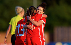 NEWPORT, WALES - Tuesday, June 12, 2018: Wales' Natasha Harding celebrates scoring the third goal with team-mate Angharad James (right) during the FIFA Women's World Cup 2019 Qualifying Round Group 1 match between Wales and Russia at Newport Stadium. (Pic by David Rawcliffe/Propaganda)