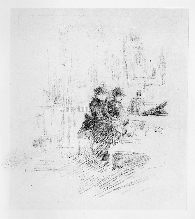 The Duethiste, or The Duet, 2 women playing the piano together, lithograph of 1894 by James Abbott McNeill Whistler, 1834-1903, American artist. Copyright © Collection Particuliere Tropmi / Manuel Cohen