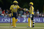 Hampshire batsman Michael Carberry and Hampshire wicketkeeper-batsman Adam Wheater during the NatWest T20 Blast South Group match between Middlesex County Cricket Club and Hampshire County Cricket Club at Uxbridge Cricket Ground, Uxbridge, United Kingdom on 27 May 2016. Photo by David Vokes.