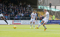 Ross County's Jamie Lindsay (18) scoring their goal. half time : Dundee 0 v 1 Ross County, Scottish Premiership game played 5/8/2017 at Dundee's home ground Dens Park.