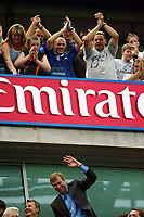 Photograph: Scott Heavey.<br />Chelsea v Leicester City, from Stamford Bridge. 23/08/2003.<br />Chelseas new owner, Roman Abramovich accepts the applause from the home crowd.