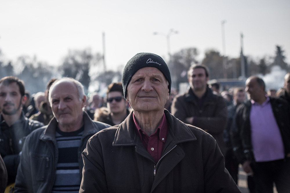 A farmer during a march inside the city of Thessaloniki, Greece, on the 2nd of February 2017. Farmers from around northern Greece gathered in Thessaloniki during the opening of the Zootechnia international livestock to demonstrate against the austerity measures put by the Greek government.