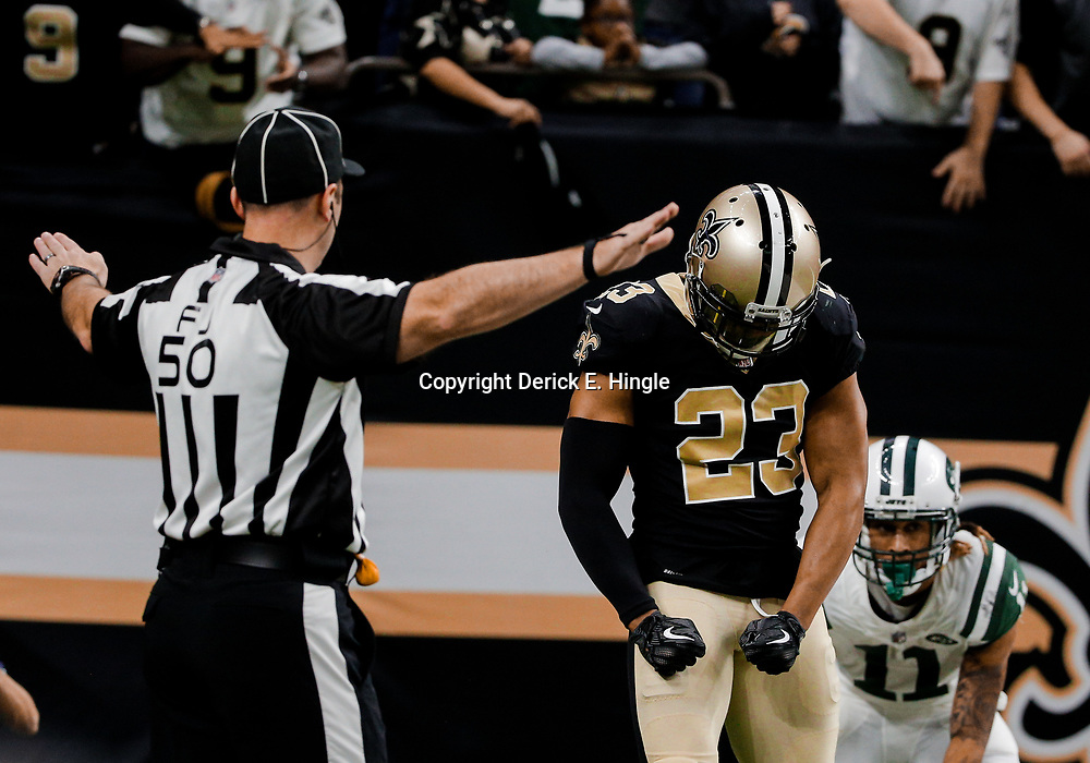 Dec 17, 2017; New Orleans, LA, USA; New Orleans Saints cornerback Marshon Lattimore (23) reacts after breaking up a pass to New York Jets wide receiver Robby Anderson (11) during the second half at the Mercedes-Benz Superdome. The Saints defeated the Jets 31-19. Mandatory Credit: Derick E. Hingle-USA TODAY Sports