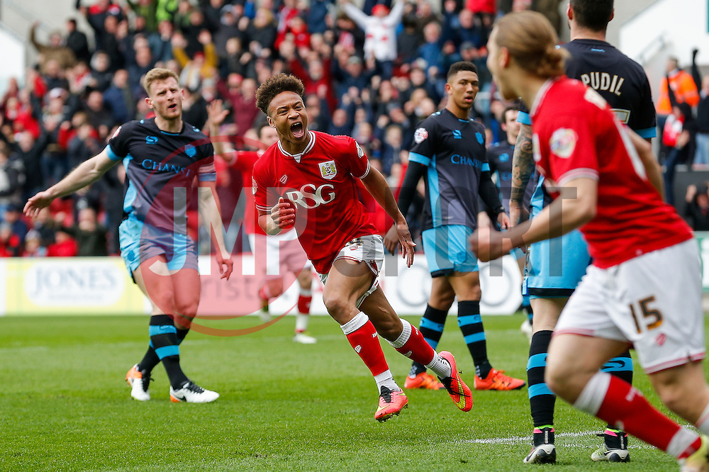 Bobby Reid of Bristol City celebrates scoring a goal to make it 2-0 - Mandatory byline: Rogan Thomson/JMP - 09/04/2016 - FOOTBALL - Ashton Gate Stadium - Bristol, England - Bristol City v Sheffield Wednesday - Sky Bet Championship.