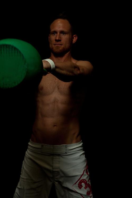 Josh Corley at Progressive Fitness Crossfit getting ready to start kettlebell swings