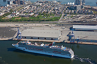 Aerial photography of the Carnival Pride Cruise ship docking at the Maryland Cruise Terminal at the Port of Baltimore