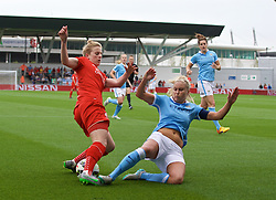 MANCHESTER, ENGLAND - Sunday, August 30, 2015: Liverpool's Natasha Dowie and Manchester City's Steph Houghton during the League Cup Group 2 match at the Academy Stadium. (Pic by Paul Currie/Propaganda)
