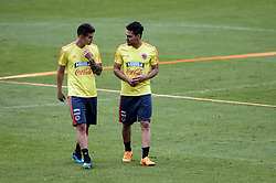 BOGOTA, May 25, 2018  James Rodriguez (L) and Radamel Falcao of Colombia's national soccer team take part in a training session before the Russia 2018 FIFA World Cup finals, in Bogota, capital of Colombia, on May 24, 2018.  da) (vf) (Credit Image: © Jhon Paz/Xinhua via ZUMA Wire)