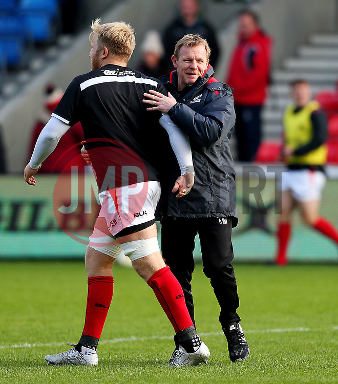 Mark McCall director of rugby for Saracens talks with his players before the match - Mandatory by-line: Matt McNulty/JMP - 20/11/2016 - RUGBY - AJ Bell Stadium - Sale, England - Sale Sharks v Saracens - Aviva Premiership