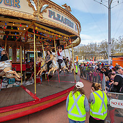 Queues for the Carousel, the only steam powered merry-go-round in Australia. Tall Ships Festival 2013, Hobart, Tasmania, Australia, Oceania
