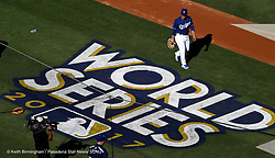 October 24, 2017 - Los Angeles, California, U.S. - Los Angeles Dodgers take batting practice prior to game one of a World Series baseball game against the Houston Astros at Dodger Stadium on Tuesday, Oct. 24, 2017 in Los Angeles. (Photo by Keith Birmingham, Pasadena Star-News/SCNG) (Credit Image: © San Gabriel Valley Tribune via ZUMA Wire)