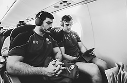 Matti Williams of Worcester Warriors and Huw Taylor of Worcester Warriors on the plane to France - Mandatory by-line: Robbie Stephenson/JMP - 19/01/2018 - RUGBY - Sixways Stadium - Worcester, England - Brive v Worcester Warriors - European Challenge Cup