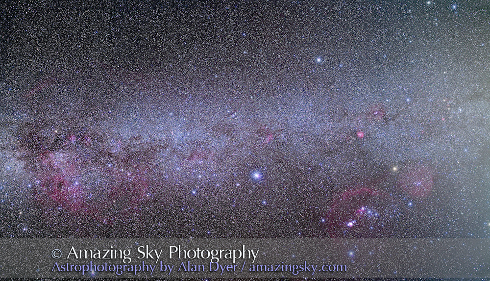 A 4-segment mosaic of the southern Milky Way from Orion (right) to Vela (left) taking in Carina and Crux (centre). Part of a larger 10-segment mosaic of the entire southern Milky Way shot in March 2010 from the Atacama Lodge, near San Pedro do Atacama in Chile. Each segment is a stack of 4 x 6 minute exposures at f/4 with a Canon L-series 35mm lens and modified Canon 5D MkII camera at ISO 800, plus an additional 6-minute exposure with the Kenko Softon filter layered in to add star glows. Segments from Pan #3.