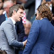 LONDON, ENGLAND - JULY 16: Eddie Redmayne and Bradley Cooper at the Mens Singles Final between Roger Federer of Switzerland and Marin Cilic of Croatia during the Wimbledon Lawn Tennis Championships at the All England Lawn Tennis and Croquet Club at Wimbledon on July 16, 2017 in London, England. (Photo by Tim Clayton/Corbis via Getty Images)