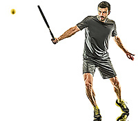 one caucasian mature tennis player man full length backhand silhouette in studio isolated on white background