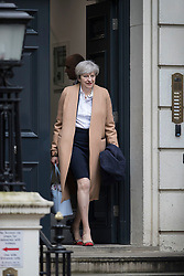 © Licensed to London News Pictures. 24/04/2017. London, UK. British prime minister THERESA MAY is seen leaving Conservative party headquarters in London. The Prime Minister posed for portraits with individual Conservative candidates at headquarters ahead of general election which is due to take place on June 8th. Photo credit: Peter Macdiarmid/LNP