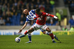 Bristol City's Jonathan Kodjia blocks Brighton's Bruno Saltor - Mandatory byline: Jason Brown/JMP - 07966 386802 - 20/10/2015 - FOOTBALL - American Express Community Stadium - Brighton,  England - Brighton & Hove Albion v Bristol City - Championship