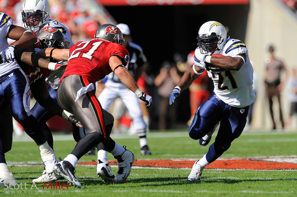 Dec. 21, 2008; Tampa, FL, USA; San Diego Chargers running back LaDainian Tomlinson (21) heads up field durign the first half of the Chargers game against the Tampa Bay Buccaneers at Raymond James Stadium. ©2008 Scott A. Miller