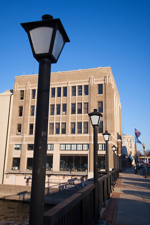 Aurora, IL's City Hall sits on an island created by the Fox River in the downtown section of the city.