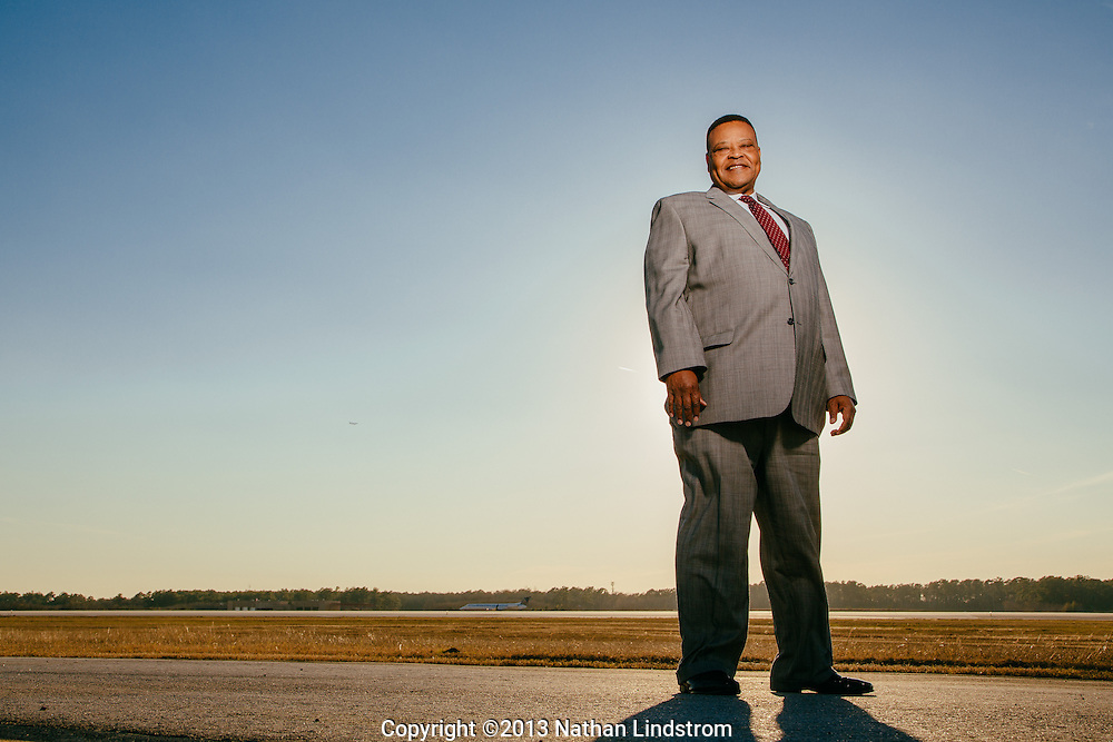 Executive portrait at airport.<br />