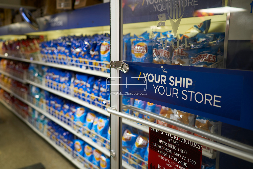 October 18, 2017. San Diego, California. Daily life on board the US Navy's Nimitz-class aircraft carrier, the USS Carl Vinson. The 1092 ft long, 95,000 ton vessel was training in the Pacific Ocean. Pictured ships convenience store.<br /> Photo copyright John Chapple / www.JohnChapple.com