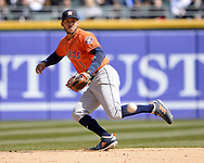 CHICAGO - APRIL 22:  Carlos Correa #1 of the Houston Astros fields against the Chicago White Sox on April 22, 2018 at Guaranteed Rate Field in Chicago, Illinois.  (Photo by Ron Vesely)   Subject:   Carlos Correa