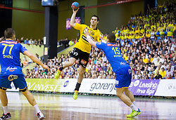 Marko Dujmovic of Gorenje vs Vid Poteko of Celje PL during handball match between RK Gorenje Velenje and RK Celje Pivovarna Lasko in Final match of 1st NLB League - Slovenian Championship 2013/14 on May 23, 2014 in Rdeca dvorana, Velenje, Slovenia. Photo by Vid Ponikvar / Sportida