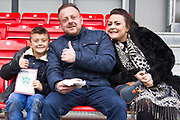 Salford City fan before the EFL Sky Bet League 2 match between Salford City and Macclesfield Town at the Peninsula Stadium, Salford, United Kingdom on 23 November 2019.