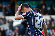 Scott McDonald of Millwall holds his head after missing a good chance to equalise during the Sky Bet Championship match at The Den, London<br /> Picture by David Horn/Focus Images Ltd +44 7545 970036<br /> 15/02/2014