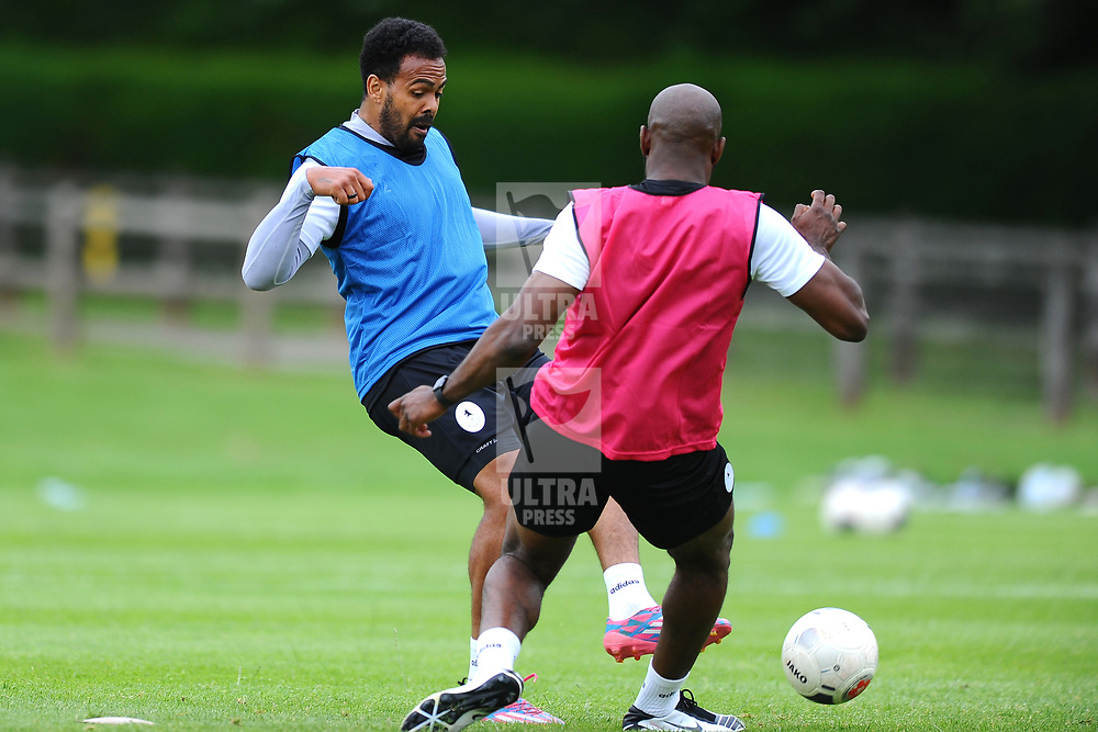 TELFORD COPYRIGHT MIKE SHERIDAN Matthew Barnes Holmer battles with Theo Streete as AFC Telford United return to training at Lilleshall National Sports Centre on Saturday, July 4, 2020.<br /> <br /> <br /> Picture credit: Mike Sheridan/Ultrapress<br /> <br /> MS202021