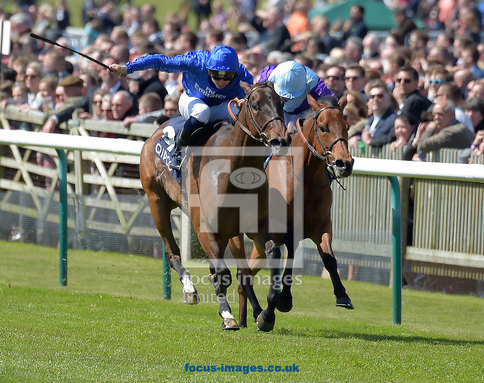 Usherette ridden by Mickael Barzalona (all royal blue ) wins Charm Spirit at Tweenhills in 2017 Dahlia Stakes during the QIPCO Guineas Festival  on the  Newmarket Rowley Mile Course, Newmarket, UK.<br /> Picture by Martin Lynch/Focus Images Ltd 07501333150<br /> 01/05/2016