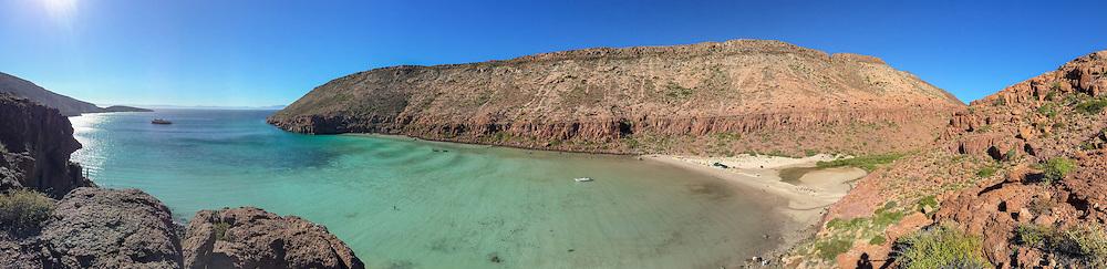 Green waters of Ensenada Grande on Isla Partida in Baja California, Mexico.