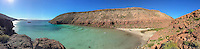 Green waters of Ensenada Grande on Isla Partida in Baja California, Mexico.