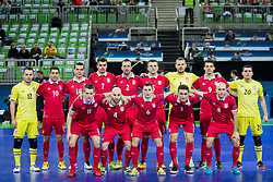 Players of National team of Serbia during futsal quarter-final match between National teams of Kazakhstan and Serbia at Day 7 of UEFA Futsal EURO 2018, on February 5, 2018 in Arena Stozice, Ljubljana, Slovenia. Photo by Urban Urbanc / Sportida