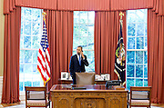 28.JUNE.2012. WASHINGTON D.C.<br /> <br /> PRESIDENT BARACK OBAMA TALKS ON THE PHONE WITH SOLICITOR GENERAL DONALD VERRILLI IN THE OVAL OFFICE<br /> <br /> BYLINE: EDBIMAGEARCHIVE.CO.UK<br /> <br /> *THIS IMAGE IS STRICTLY FOR UK NEWSPAPERS AND MAGAZINES ONLY*<br /> *FOR WORLD WIDE SALES AND WEB USE PLEASE CONTACT EDBIMAGEARCHIVE - 0208 954 5968*