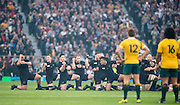 London, Great Britain,   The Australian Rugby Team stand and watch the NZL team issue the challenge via the Haka before the start of the 2015 Rugby World Cup Final. New Zealand vs Australia,, Twickenham Stadium,London. England, Saturday  31/10/2015. <br />