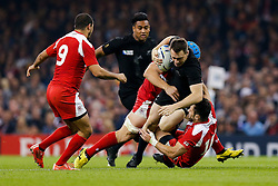 New Zealand Full Back Ben Smith is tackled by Georgia Number 8 Lasha Lomidze and Fly-Half Lasha Malaguradze - Mandatory byline: Rogan Thomson/JMP - 07966 386802 - 02/10/2015 - RUGBY UNION - Millennium Stadium - Cardiff, Wales - New Zealand v Georgia - Rugby World Cup 2015 Pool C.