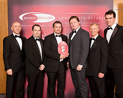 Winner of the Medium Store category at the Edward Dillon/Santa Rita Estates SuperValu Off Licence of the Year is SuperValu, Priest's Road, Tramore, Co. Waterford. Pictured left to right are Donagh McClafferty, Musgraves, Paul Martin, Tony Quigley and Cormac Quish from SuperValu Tramore, Tony Reade, Edward Dillon and Tom Lethaby, Santa Rita Estates.