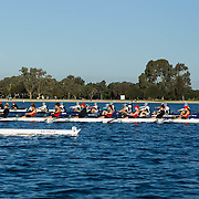 24 February 2017: The women's rowing team held a scrimmage Friday morning against UCSD and USD on Mission Bay