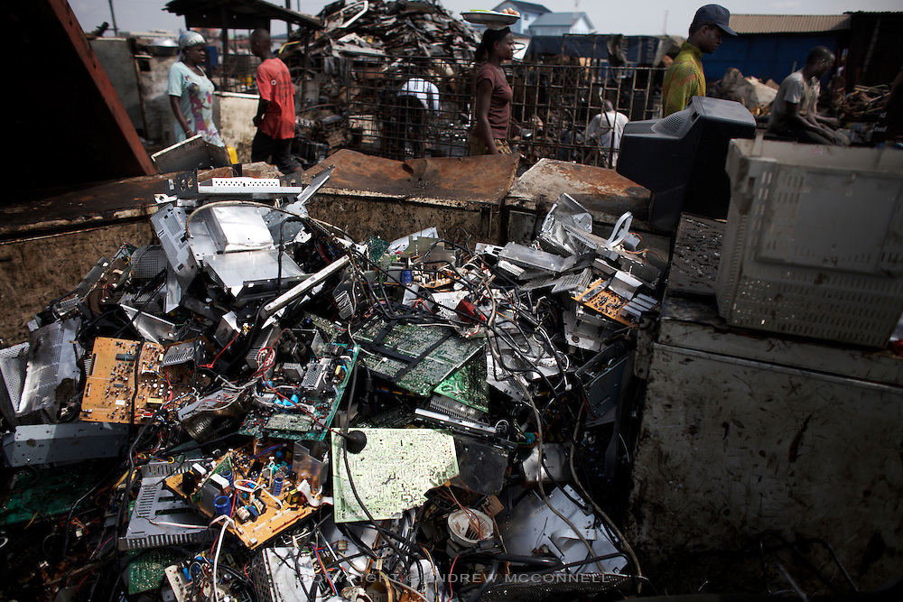 A pile of circuit boards at Agbogbloshie dump, in Accra, Ghana.