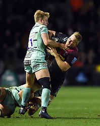 Alex Dombrandt of Harlequins takes on the Gloucester Rugby defence - Mandatory byline: Patrick Khachfe/JMP - 07966 386802 - 01/12/2019 - RUGBY UNION - The Twickenham Stoop - London, England - Harlequins v Gloucester Rugby - Gallagher Premiership