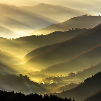 Mountain defile filled in sunlight