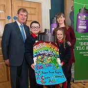 07/03/2019<br /> 3rd place winners of the 3rd and 4th class category are 3rd class students MJ O'Neill and Hazel Brassil from St Brigid's NS along with teacher Emma O'Connor and JP McManus at the 'Design a TLC Bottle' prizegiving at the Hunt Museum, Limerick. Over 50 primary schools across the county entered ahead of Team Limerick Clean-Up 5, which will see thousands of volunteers take to the streets of Limerick city and county for Europe's largest one-day clean up. Sponsored by the JP McManus Benevolent Fund, the event has seen over 360 tonnes of litter gathered from the streets since inception in 2015. Over 14,000 volunteers have already signed up for the 2019 event, taking place on Good Friday, 19th April. <br /> Photo by Diarmuid Greene